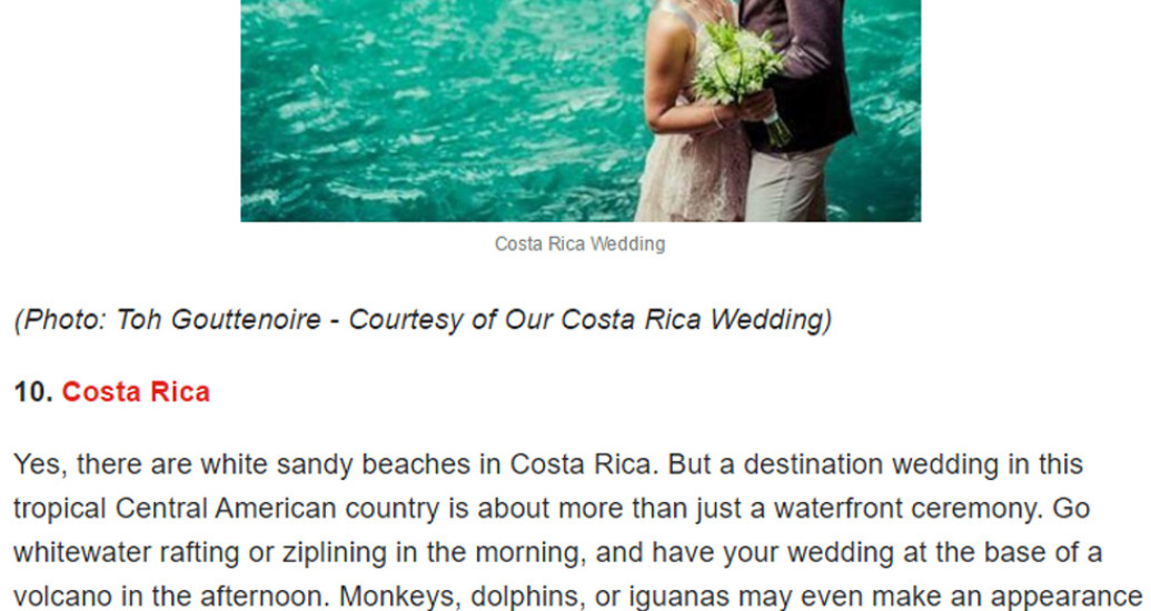 Bidrop collaborated with Yahoo for a destination wedding article.